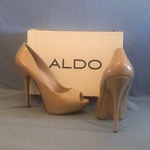 Aldo - Beige Peep-Toe Pumps